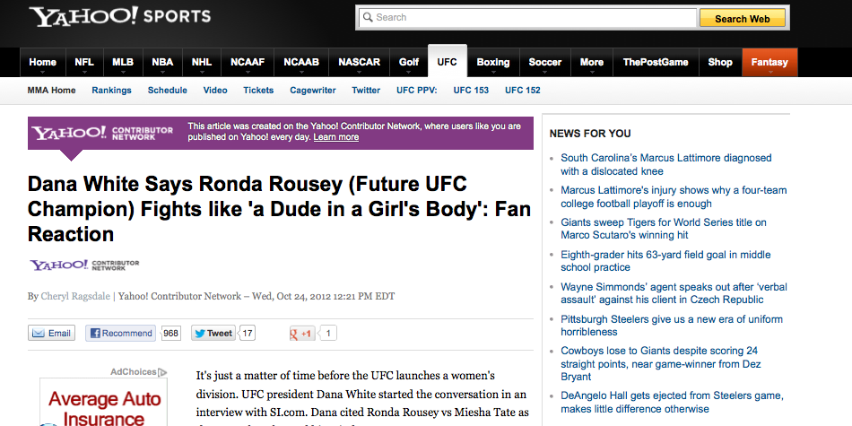 yahoo sports contributor cheryl ragsdale ronda rousey post