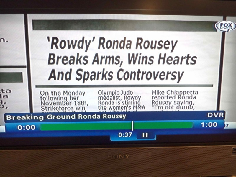 yahoo sports headline from Breaking Ground Ronda Rousey 2 written by Cheryl Ragsdale