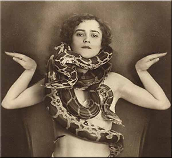 snake wrapped around a woman